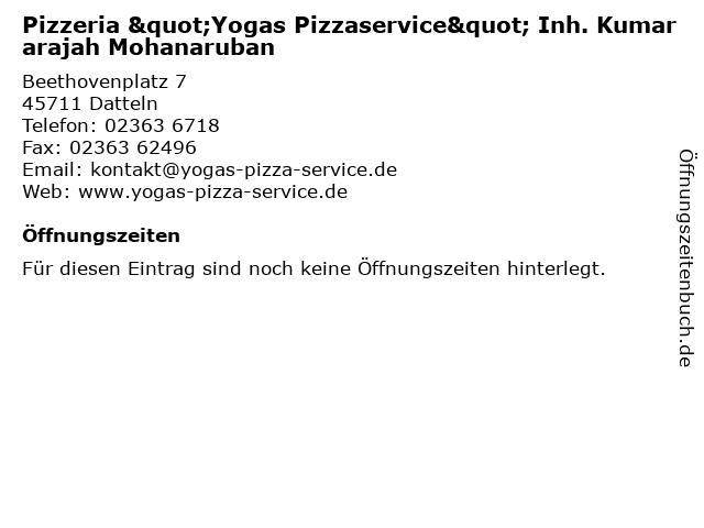 Á… Offnungszeiten Yogas Pizza Service Beethovenplatz 7 In Datteln