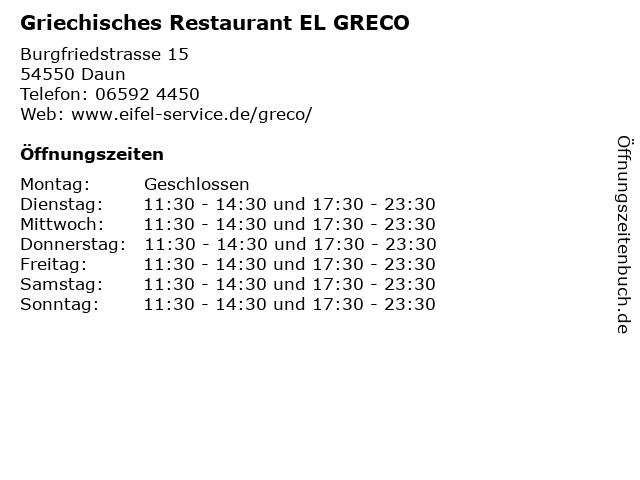 Griechisches Restaurant EL GRECO in Daun: Adresse und Öffnungszeiten