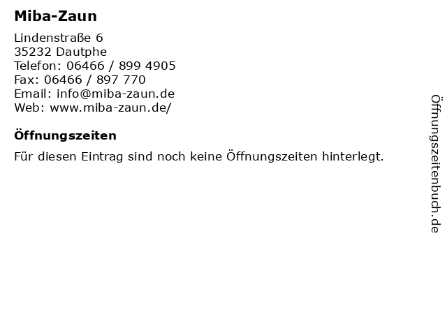 Miba-Zaun in Dautphe: Adresse und Öffnungszeiten