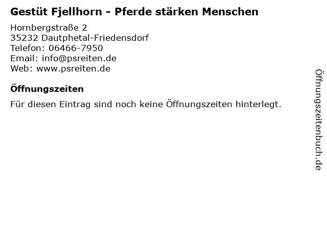 Gestüt Fjellhorn - Pferde stärken Menschen in Dautphetal-Friedensdorf: Adresse und Öffnungszeiten