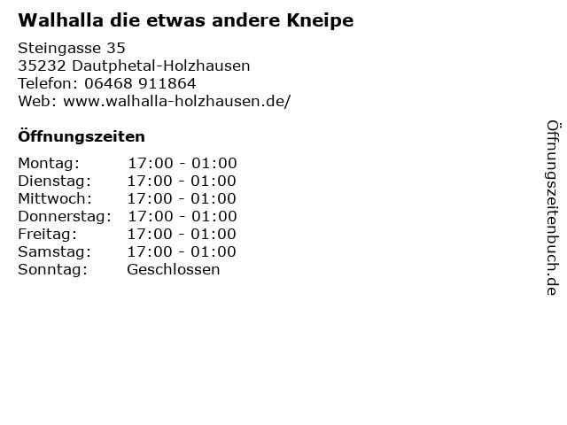 Walhalla die etwas andere Kneipe in Dautphetal-Holzhausen: Adresse und Öffnungszeiten