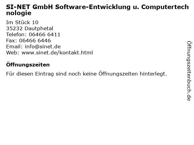 SI-NET GmbH Software-Entwicklung u. Computertechnologie in Dautphetal: Adresse und Öffnungszeiten