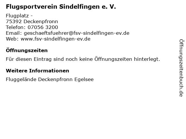 Flugsportverein Sindelfingen e. V. in Deckenpfronn: Adresse und Öffnungszeiten