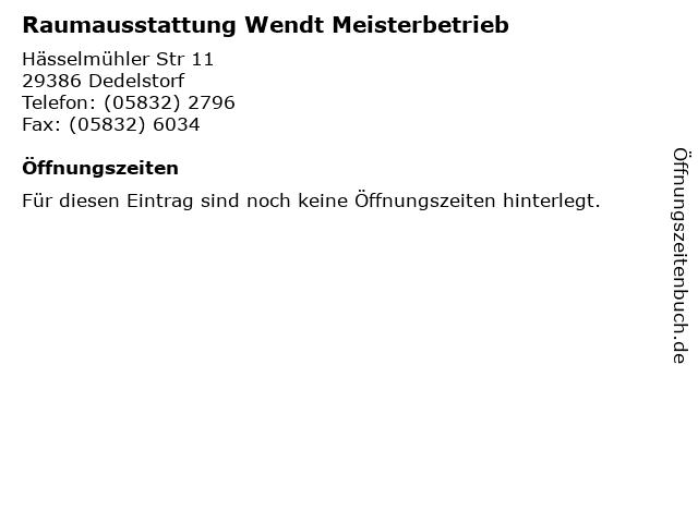Raumausstattung Wendt Meisterbetrieb in Dedelstorf: Adresse und Öffnungszeiten
