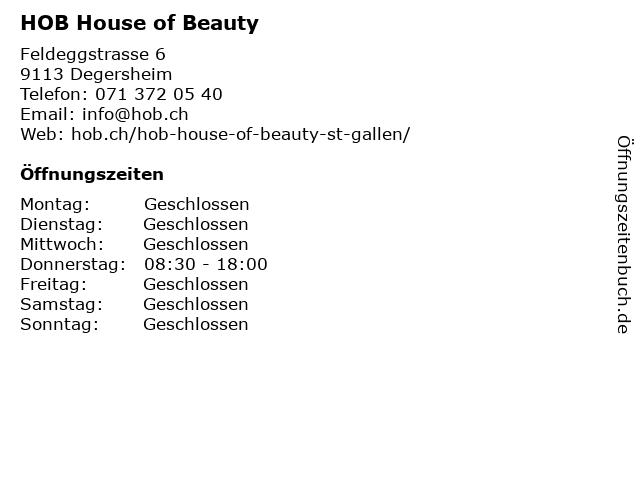 HOB House of Beauty in Degersheim: Adresse und Öffnungszeiten