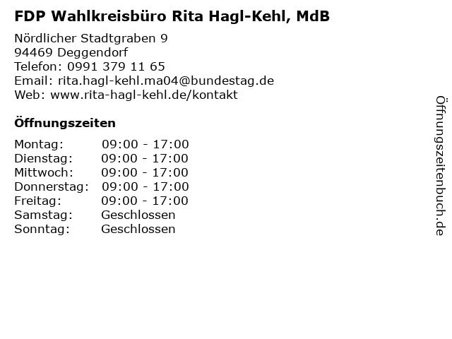 FDP Wahlkreisbüro Rita Hagl-Kehl, MdB in Deggendorf: Adresse und Öffnungszeiten