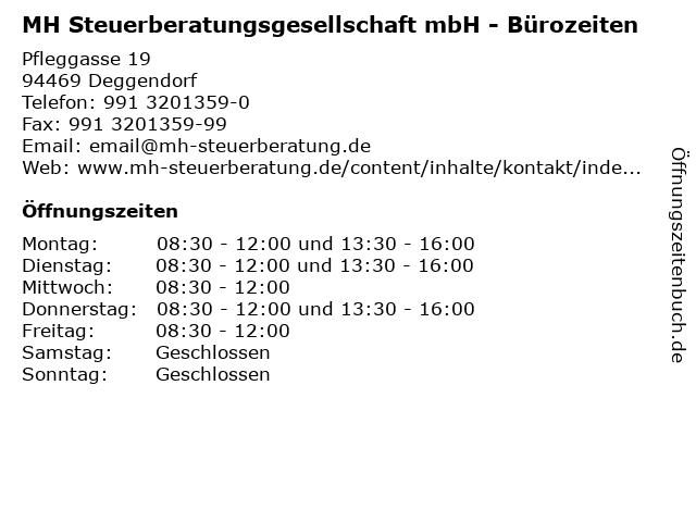 MH Steuerberatungsgesellschaft mbH - Bürozeiten in Deggendorf: Adresse und Öffnungszeiten