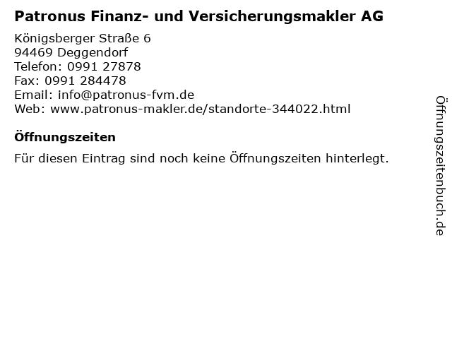 Patronus Finanz- und Versicherungsmakler AG in Deggendorf: Adresse und Öffnungszeiten