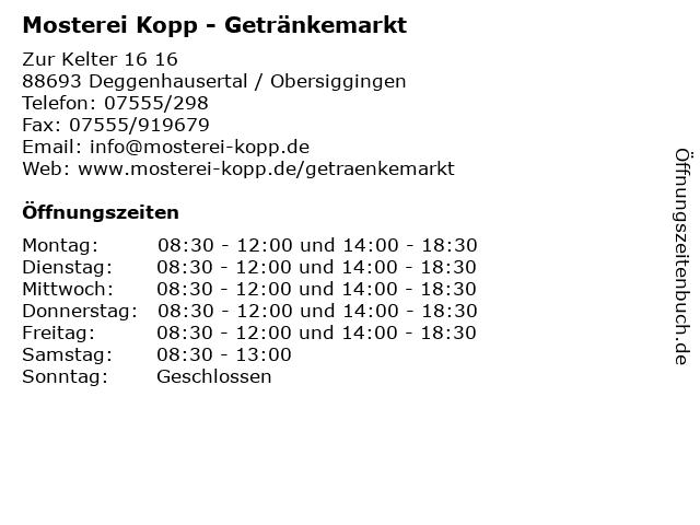 Mosterei Kopp - Getränkemarkt in Deggenhausertal / Obersiggingen: Adresse und Öffnungszeiten