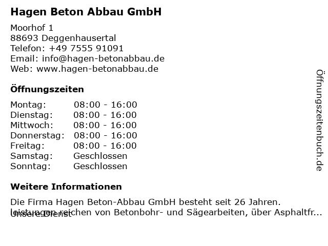 Hagen Beton Abbau GmbH in Deggenhausertal: Adresse und Öffnungszeiten