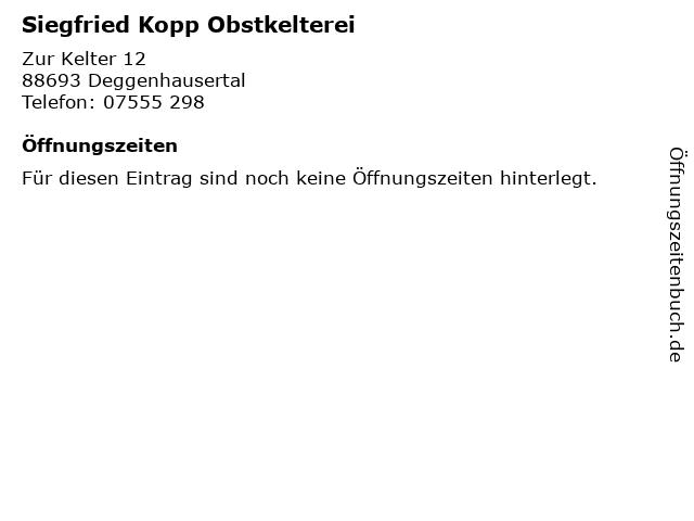 Siegfried Kopp Obstkelterei in Deggenhausertal: Adresse und Öffnungszeiten