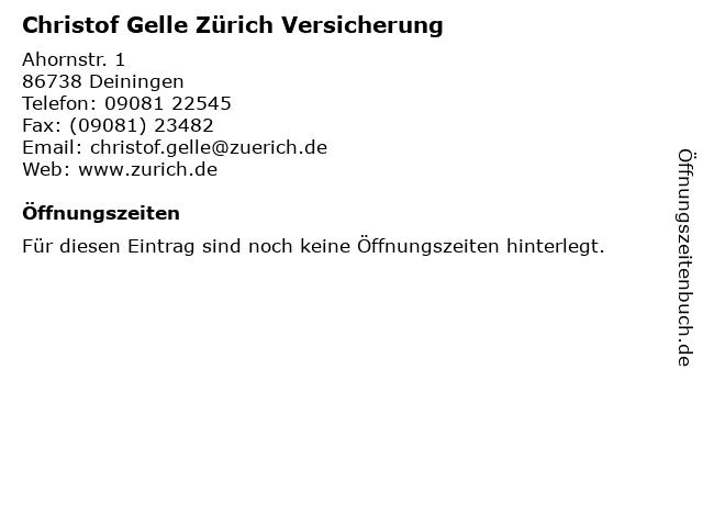 Christof Gelle Zürich Versicherung in Deiningen: Adresse und Öffnungszeiten