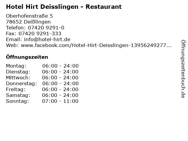 Hotel Hirt Deisslingen - Restaurant in Deißlingen: Adresse und Öffnungszeiten