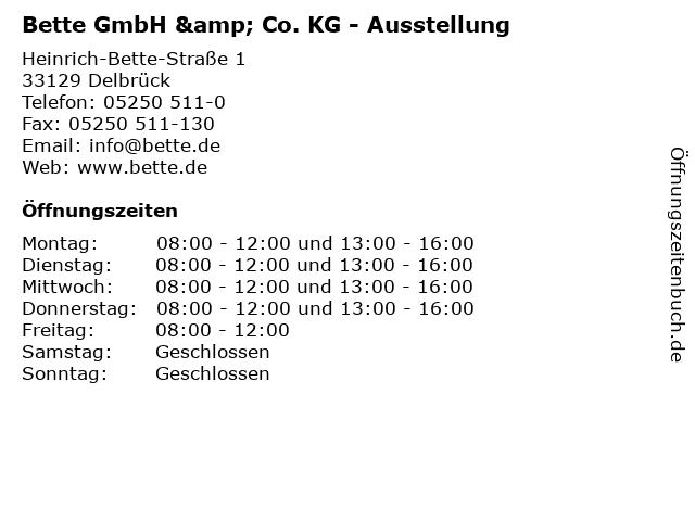 ᐅ öffnungszeiten Bette Gmbh Co Kg Ausstellung Heinrich