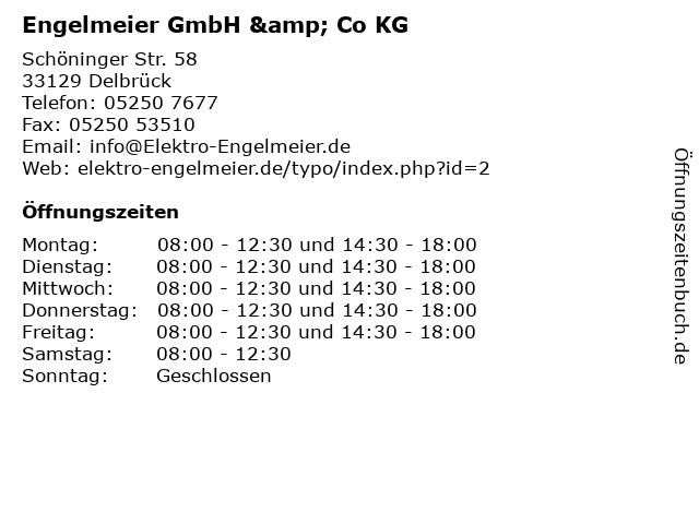 Engelmeier GmbH & Co KG in Delbrück: Adresse und Öffnungszeiten