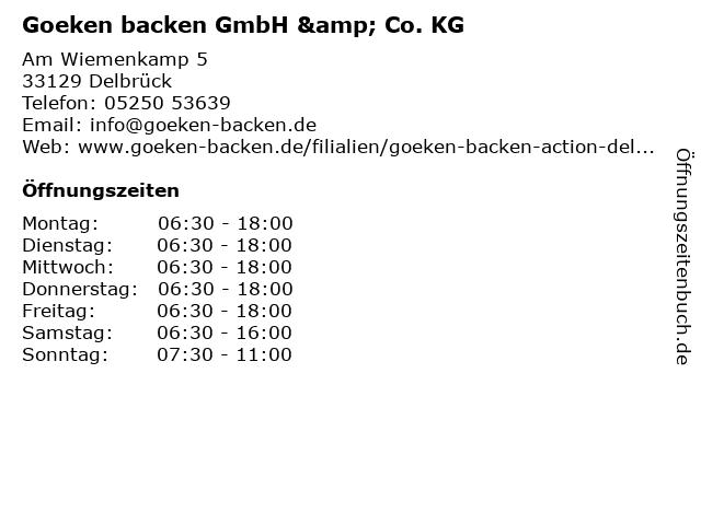 Goeken backen GmbH & Co. KG in Delbrück: Adresse und Öffnungszeiten