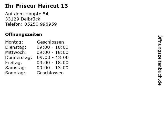 Ihr Friseur Haircut 13 in Delbrück: Adresse und Öffnungszeiten
