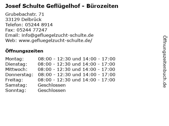 Josef Schulte Geflügelhof in Delbrück: Adresse und Öffnungszeiten