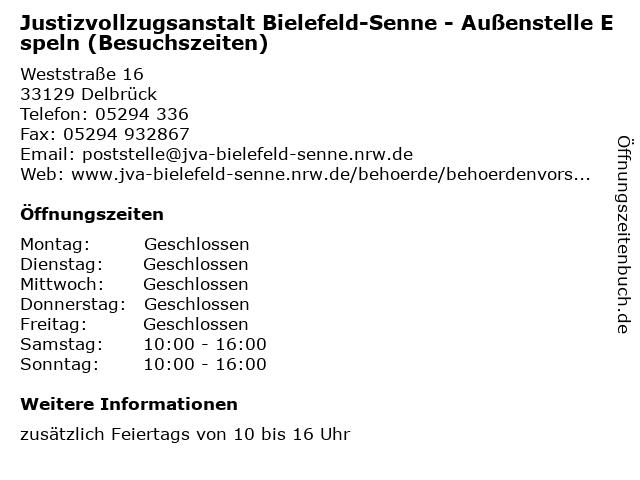 Justizvollzugsanstalt Bielefeld-Senne - Außenstelle Espeln (Besuchszeiten) in Delbrück: Adresse und Öffnungszeiten