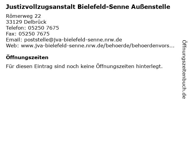 Justizvollzugsanstalt Bielefeld-Senne Außenstelle in Delbrück: Adresse und Öffnungszeiten