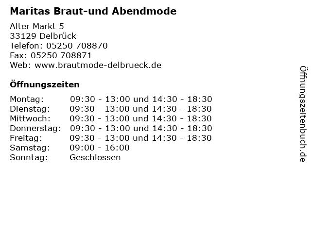 Maritas Braut-und Abendmode in Delbrück: Adresse und Öffnungszeiten