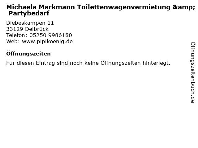 Michaela Markmann Toilettenwagenvermietung & Partybedarf in Delbrück: Adresse und Öffnungszeiten