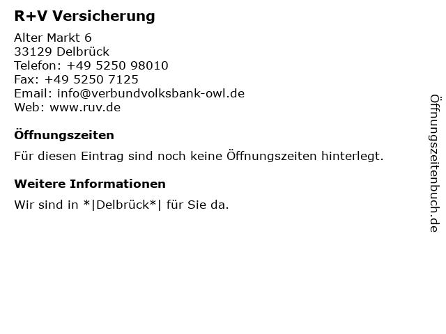 R+V Versicherung in Delbrück: Adresse und Öffnungszeiten