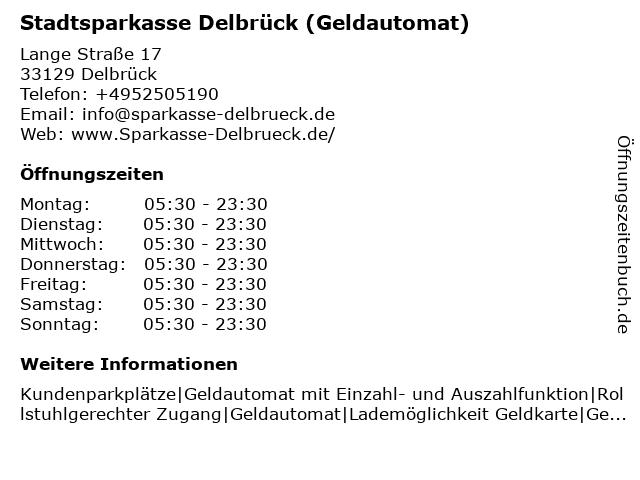 Stadtsparkasse Delbrück - (Geldautomat Hauptstelle) in Delbrück: Adresse und Öffnungszeiten