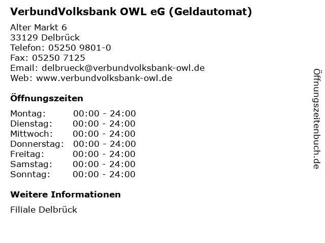 VerbundVolksbank OWL eG (Geldautomat) in Delbrück: Adresse und Öffnungszeiten