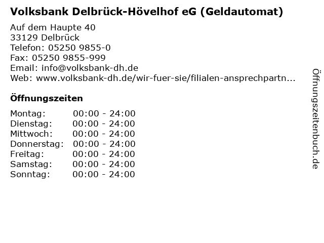 Volksbank Delbrück-Hövelhof eG (Geldautomat) in Delbrück: Adresse und Öffnungszeiten