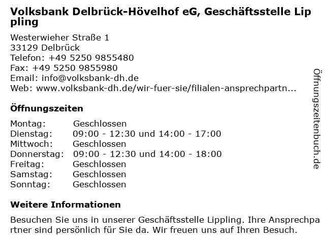Volksbank Delbrück-Hövelhof eG, Geschäftsstelle Lippling in Delbrück: Adresse und Öffnungszeiten