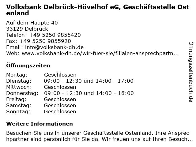 Volksbank Delbrück-Hövelhof eG, Geschäftsstelle Ostenland in Delbrück: Adresse und Öffnungszeiten