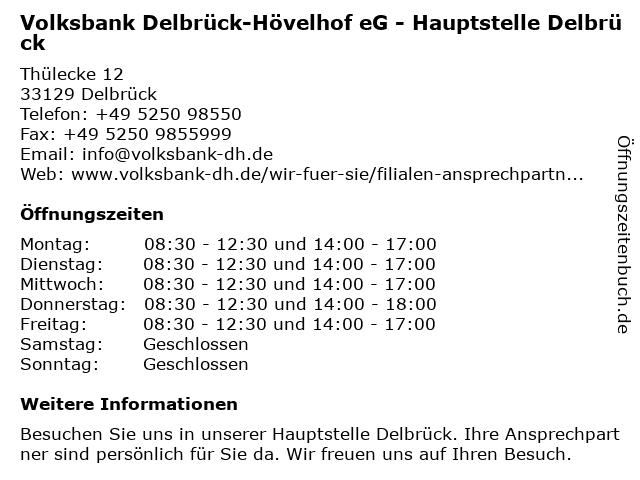 Volksbank Delbrück-Hövelhof eG, Hauptstelle Delbrück in Delbrück: Adresse und Öffnungszeiten