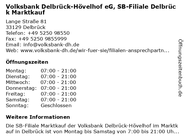 Volksbank Delbrück-Hövelhof eG, SB-Filiale Delbrück Marktkauf in Delbrück: Adresse und Öffnungszeiten