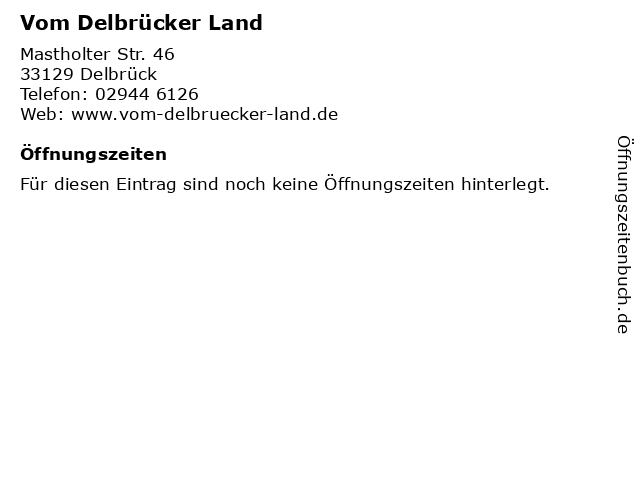 Vom Delbrücker Land in Delbrück: Adresse und Öffnungszeiten