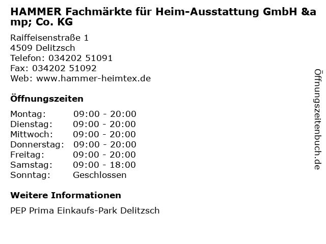HAMMER Fachmärkte für Heim-Ausstattung GmbH & Co. KG in Delitzsch: Adresse und Öffnungszeiten
