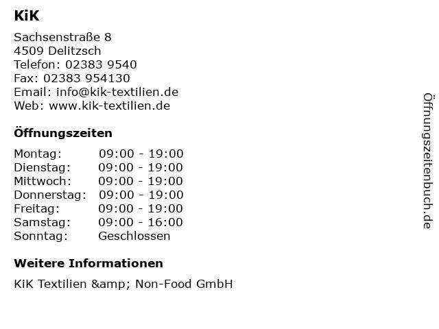 KiK Textilien & Non-Food GmbH in Delitzsch: Adresse und Öffnungszeiten