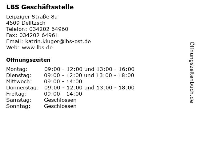 LBS Geschäftsstelle in Delitzsch: Adresse und Öffnungszeiten
