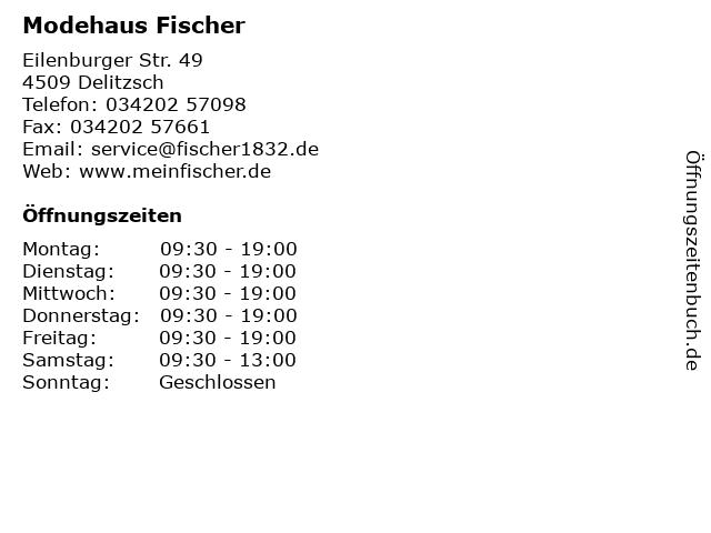 Modehaus Fischer in Delitzsch: Adresse und Öffnungszeiten