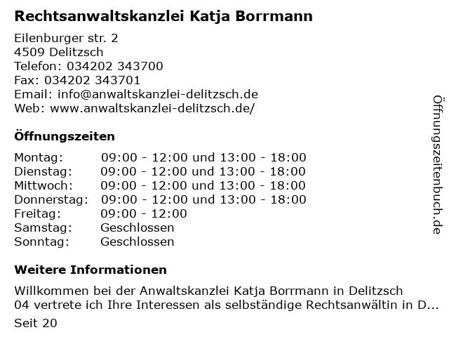 Rechtsanwaltskanzlei Katja Borrmann in Delitzsch: Adresse und Öffnungszeiten