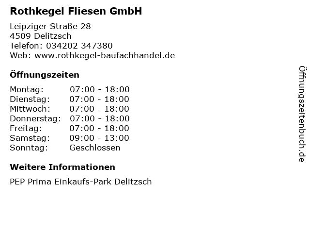 Rothkegel Fliesen GmbH in Delitzsch: Adresse und Öffnungszeiten