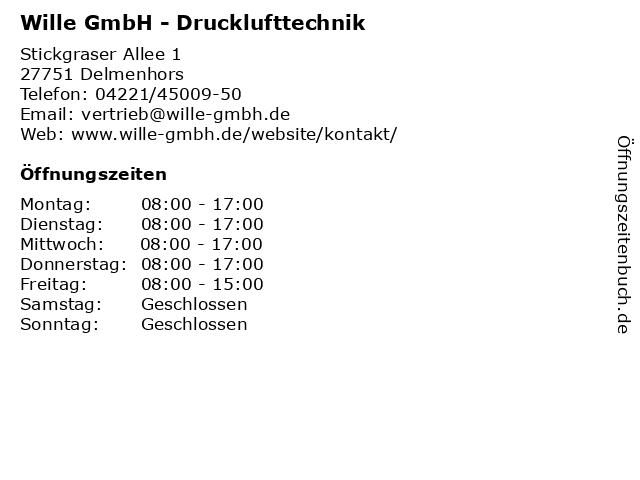 Wille GmbH - Drucklufttechnik in Delmenhors: Adresse und Öffnungszeiten