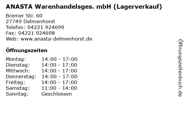 ANASTA Warenhandelsges. mbH (Lagerverkauf) in Delmenhorst: Adresse und Öffnungszeiten