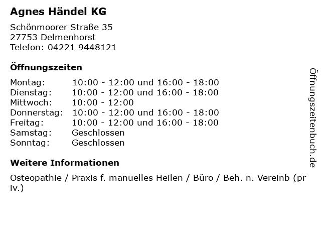 Agnes Händel KG in Delmenhorst: Adresse und Öffnungszeiten