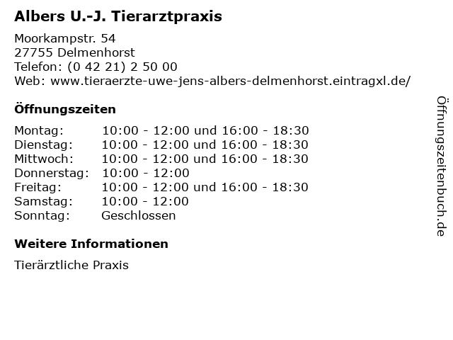 Albers U.-J. Tierarztpraxis in Delmenhorst: Adresse und Öffnungszeiten