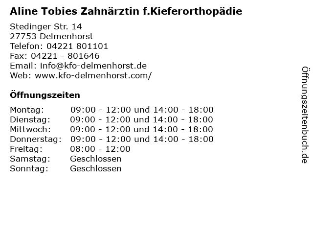 Aline Tobies Zahnärztin f.Kieferorthopädie in Delmenhorst: Adresse und Öffnungszeiten