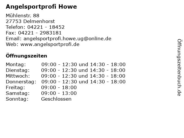 Angelsportprofi Howe in Delmenhorst: Adresse und Öffnungszeiten