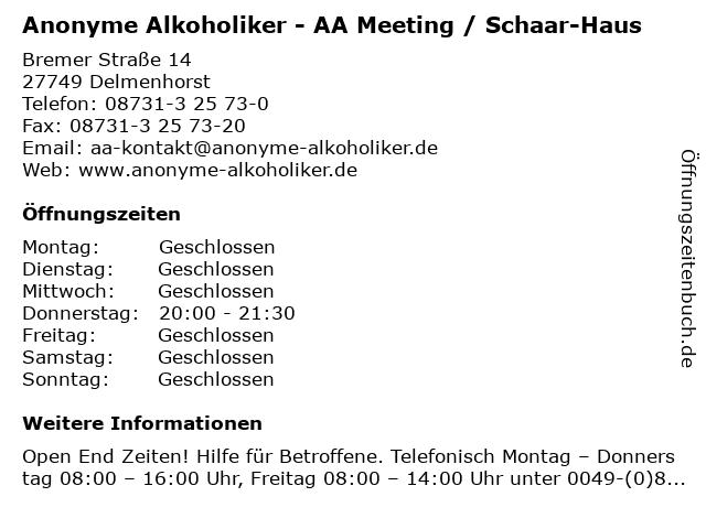 Anonyme Alkoholiker - AA Meeting / Schaar-Haus in Delmenhorst: Adresse und Öffnungszeiten