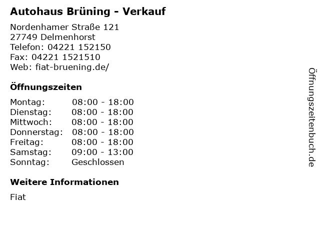 Autohaus Brüning - Verkauf in Delmenhorst: Adresse und Öffnungszeiten