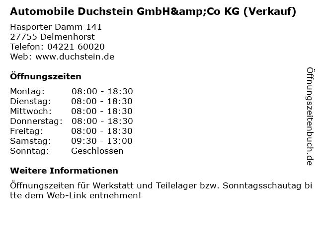 Automobile Duchstein GmbH&Co KG (Verkauf) in Delmenhorst: Adresse und Öffnungszeiten